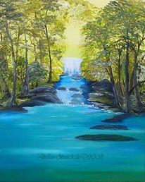 Baum, Landschaft, Malerei, Wasser