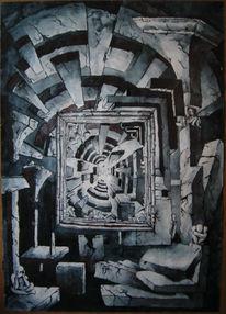 Malerei, Kubismus, Fluchtpunkt, Würfel