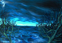 Wasser, Surreal, Malerei, Blau