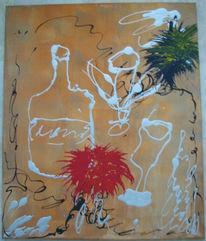 Stillleben, Abstrakt, Flasche, Acrylmalerei