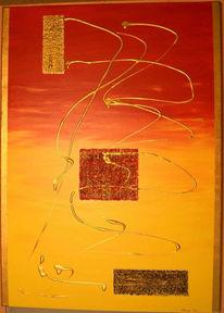 Rot, Gold, Abstrakt, Malerei
