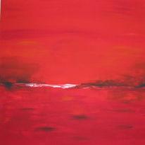 Malerei, Rot, Abstrakt, Acrylmalerei