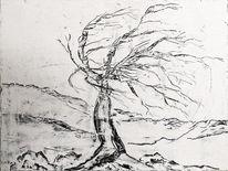Baum, Schnee, Durchhalten, Einsamkeit