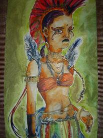 Malerei, Ureinwohner, Figural, Frau