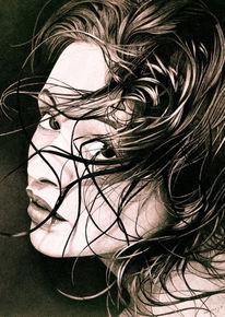 Schwarz weiß, Fotorealismus, Zeichnung, Frau