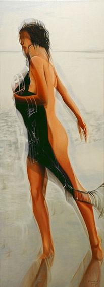 Meer, Frau, Ölmalerei, Malerei