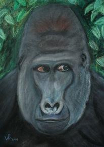 Malerei, Tiere, Chef, Gorilla