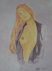 Akt, Aquarellmalerei, Figural, Stimmung