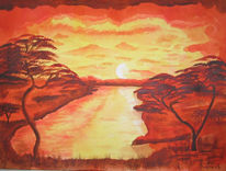 Sonnenuntergang, Malerei, Afrika, Sonne