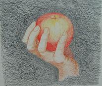 Hand, Natur, Zeichnung, Apfel
