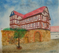 Fachwerk, Haus, Malerei