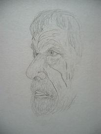 Zeichnung, Bleistiftzeichnung, Kopf, Portrait