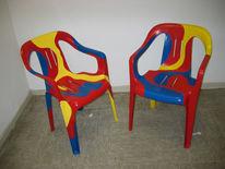 Stuhl, Abstrakt, Blau, Rot