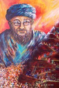 Turm, Babel, Babylon, Acrylmalerei