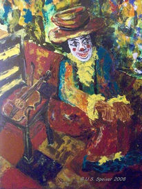 Acrylmalerei, Fiddle, Geige, Clown