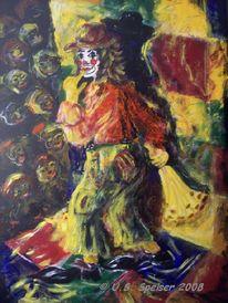 Clownine, Acrylmalerei, Überraschung, Clown