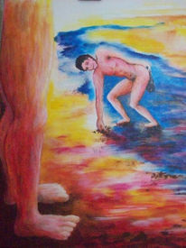 Goliath, Acrylmalerei, Schleuder, Alt