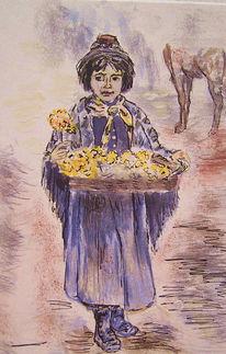 Malerei, Figural, Armut, Aquarellmalerei