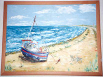 Ölmalerei, Spachteltechnik, Ostsee, Landschaft