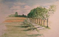 Skizze, Allee, Baum, Landschaft