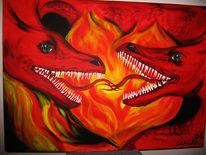 Liebe, Emotion, Drache, Malerei
