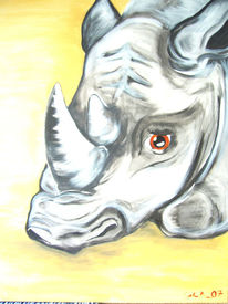 Malerei, Figural, Tiere, Nashorn