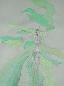 Malerei, Grün, Figural, Schleier