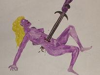 Malerei, Schwert, Figural, Lila