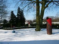 Garten, Skulptur, Winter, Stimmung