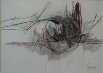 Federzeichnung, Zeichnung, Blumenbrechen, Abstrakt