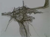Baum, Trost, Federzeichnung, Zeichnung