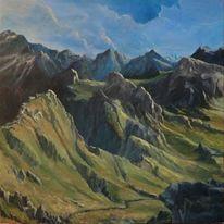Berge wolken landschaft, Malerei