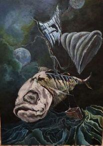 Himmel, Dunkel, Fisch, Malerei