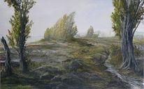 Baum, Hochwasser, Pappeln, Herbst