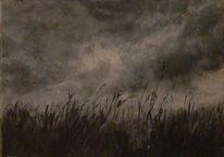 Landschaft, Malerei, Dunkel, Wiese