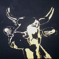 Kuh, Malerei, Gold, Kalb