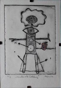 Modern art, Kunstdruck, Schlitz, Ätzen