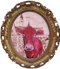 Kuh, Landenhausen, Ölmalerei, Bulle