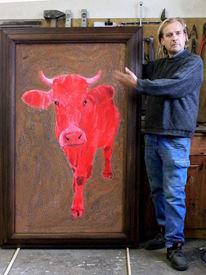 Kunst kuh, Zeitgenössische kunst, Acrylmalerei, Milan art