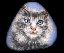 Porträtmalerei, Steinmalerei, Zeichnung, Katze