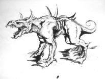 Tuschmalerei, Drache, Skizze, Zeichnung