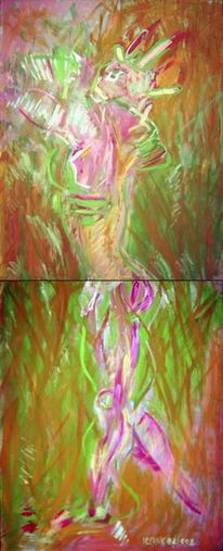Frühling, Malerei, Abstrakt, Diptychon