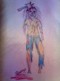 Zeichnung, Blut, Tod, Zombie