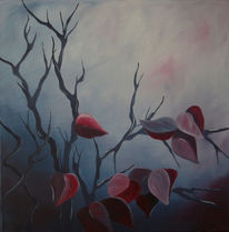 Malerei, Baum, Blätter, Wald
