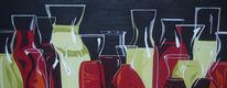 Flasche, Glas, Stillleben, Malerei