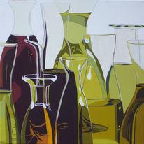 Malerei, Glas, Mediterran, Ölmalerei