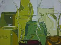 Olivenöl, Ölmalerei, Glas, Mediterran