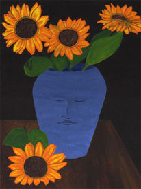 Sonnenblumen, Blau, Vase, Malerei