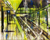 Acrylmalerei, Grün, Malerei, Stadt
