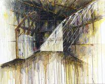Stadt, Acrylmalerei, Gelb, Malerei